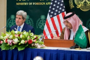 Date: 03/05/2015 Location: Saudi Arabia Description: U.S. Secretary of State John Kerry addresses reporters during a news conference with Saudi Arabia Foreign Minister Saud al-Faisal on March 5, 2015, in Riyadh, Saudi Arabia - State Dept Image