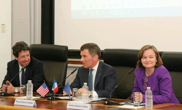 Assistant Secretary Rivkin speaks to students at the Ecole Nationale d'Administration (ENA), along with Professor Renaud Dorandeu (Dauphine University) and Director of ENA Nathalie Loiseau in Paris.