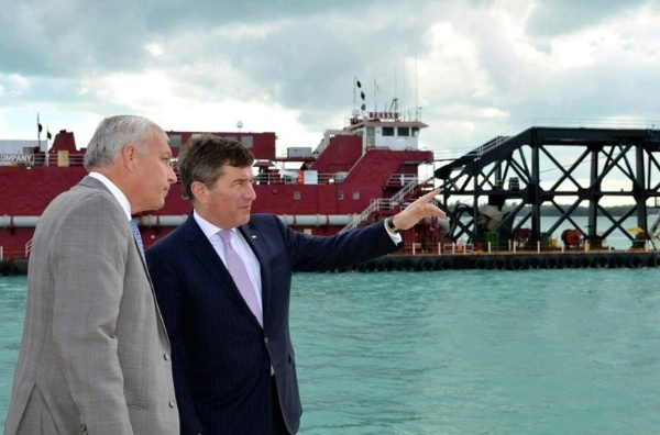Juan Kuryla, Director of Port Miami, provides a tour of the Port to Assistant Secretary Rivkin during his visit to Miami, Florida to discuss President Obama's trade agenda.