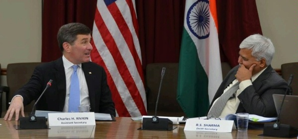 Assistant Secretary Rivkin and Indian Secretary of the Department of Electronics and Information Technology R.S. Sharma deliver opening remarks for US and India talks on information and communication technology issues at the US Department of State.