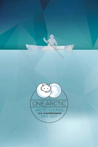 Date: 2015 Description: Stylized image of the Arctic - Man in Boat. Text: One Arctic, Arctic Council, US Chairmanship 2015 - 2015 - State Dept Image