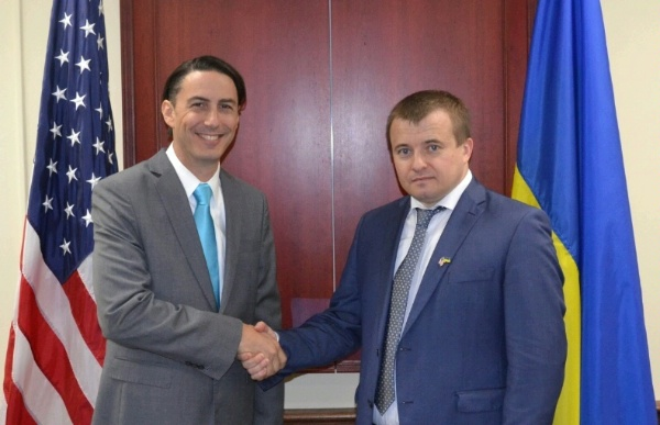 Special Envoy for International Energy Affairs Amos Hochstein and Ukraine's Energy Minister Volodymyr Demchyshyn before the fifth annual Energy Security Dialogue.