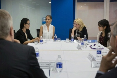 U.S. Ambassador for Global Women's Issues Cathy Russell holds a Civil Society and Women's leadership roundtable, at the American Center, a library and study room run by the U.S. Consulate in Ho Chi Minh, Vietnam, July 21, 2015. (Official White House Photo by David Lienemann)