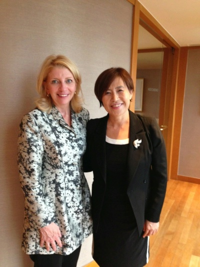 U.S. Ambassador for Global Women's Issues Cathy Russell meets with Dr. Lee Ae-Ran in Korea July 17, 2015. Dr. Lee is a recipient of the 2010 Secretary's International Women of Courage Award.