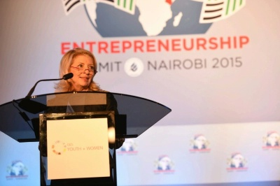 U.S. Ambassador-at-Large for Global Women's Issues Cathy Russell delivers remarks at the Opening Session of Women and Youth Day at the Global Entrepreneurship Summit, in Nairobi, Kenya, on July 24, 2015.