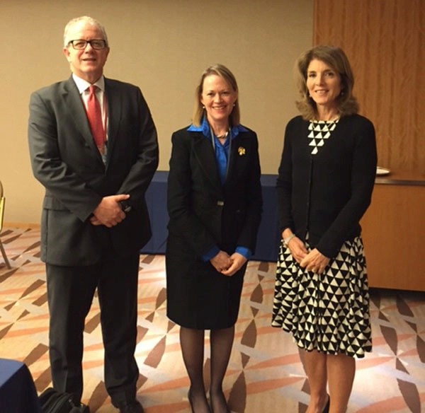 Ambassador Caroline Kennedy welcomes ENR Principal Deputy Assistant Secretary Mary Warlick and Department of Energy Assistant Secretary Jon Elkind to Tokyo.