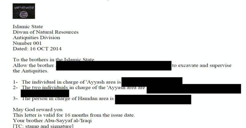 Date: 09/29/2015 Description: Translated letter providing authorization for certain individuals to excavate and supervise the excavation of artifacts in ISIL-controlled territory © Captured from Senior ISIL official Abu Sayyaf/public domain