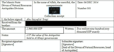 Date: 09/29/2015 Description: Translated receipt for payment of ''war booty'' tax © Captured from Senior ISIL official Abu Sayyaf/public domain
