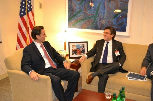 Special Envoy Hochstein welcomes Inter- American Development Bank President Luis Alberto Moreno to the State Department November 9, 2015