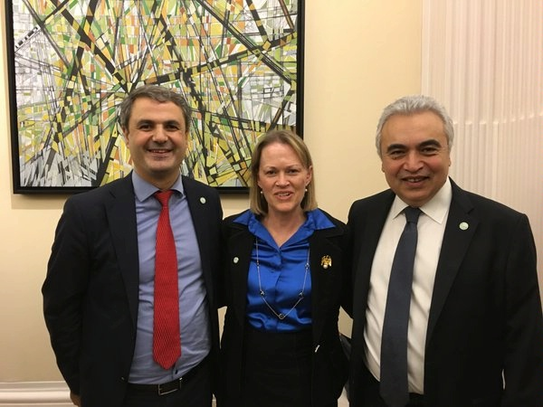 ENR PDAS Mary Warlick with Swedish Minister for Energy Ibrahim Baylan and International Energy Agency (IEA) Executive Director Fatih Birol at the IEA Ministerial
