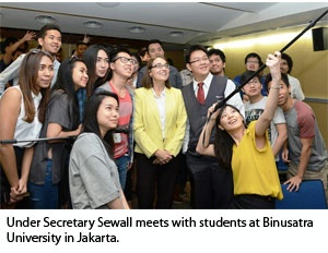 Date: 12/09/2015 Location: Jakarta, Indonesia Description: Under Secretary Sewall meets with students at Binusatra University in Jakarta. - State Dept Image