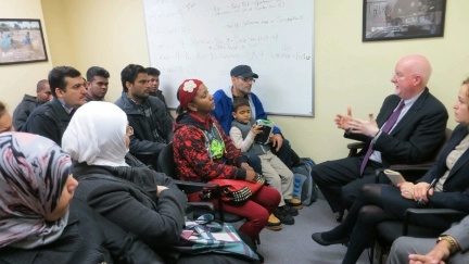 Special Representative for Religion and Global Affairs Shaun Casey meets with refugees from Syria, Sri Lanka, Pakistan, Afghanistan, Ethiopia, and Cuba during a visit to Church World Service in New York, NY on December 14, 2015.