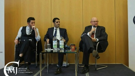 Special Representative to Muslim Communities Shaarik Zafar and Special Envoy to Monitor and Combat Anti-Semitism Ira Forman speak at the Muslim Jewish Conference in Berlin Germany on August 18, 2015.