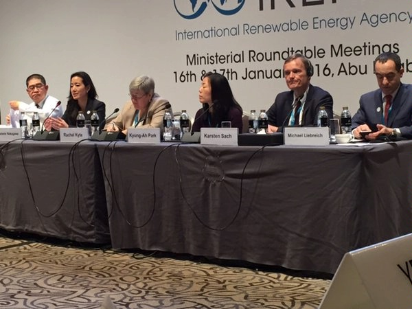 Melanie Nakagawa, ENR DAS for Energy Transformation, participates on a Ministerial panel at the International Renewable Energy Agency (IRENA) Sixth Session of the Assembly.