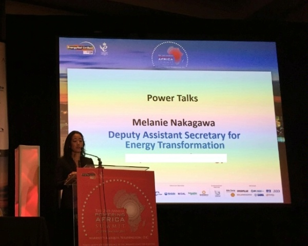 DAS Melanie Nakagawa addresses electricity project developers, technology vendors, financiers, and government officials at the EnergyNet Powering Africa conference.