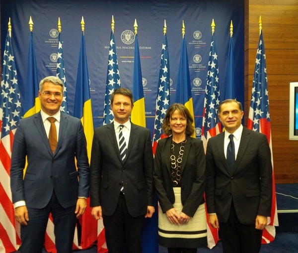 DAS Robin Dunnigan and Romanian government officials at the U.S.-Romania Strategic Dialogue Energy Working Group.