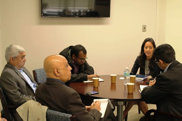 DAS Melanie Nakagawa meets with press from India to overview U.S.-India Clean Energy Finance Task Force goals.