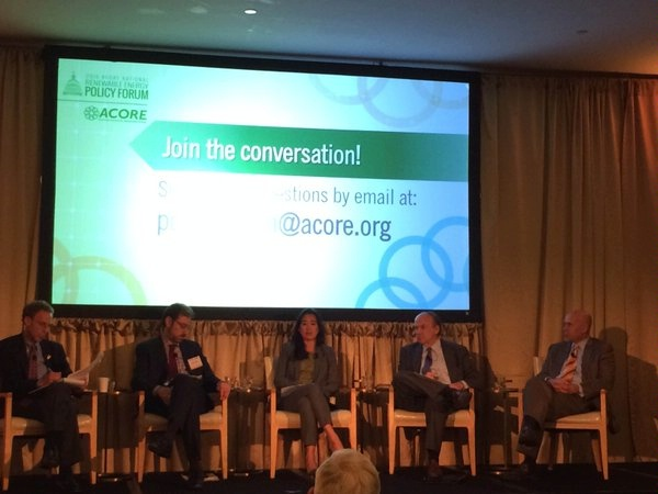 At a panel of the American Council on Renewable Energy (ACORE), DAS Melanie Nakagawa highlights three areas of focus for post-COP21 implementation: (1) creating innovative business models and finance solutions, (2) developing the right policy incentives, and (3) developing partnerships.