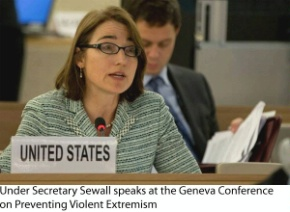 Date: 04/08/2016 Location: Geneva, Switzerland Description: Under Secretary Sewall speaks at the Geneva Conference on Preventing Violent Extremism. - State Dept Image