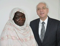 Date: 03/31/2016 Description: International Women of Courage Awardee, Awadeya Mahmoud with the Special Envoy for Sudan and South Sudan - State Dept Image