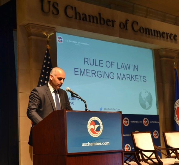 Special Representative Haider discusses Rule of Law in Emerging Markets at the U.S. Chamber of Commerce meeting in Washington, DC.