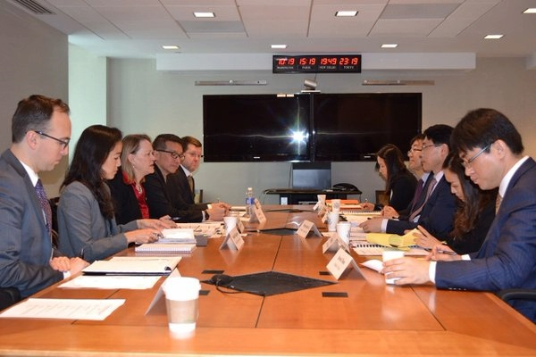 PDAS Mary Burce Warlick hosts Ministry of Foreign Affairs Director General Hyung-jong Lee the State Department for the US-Korea Energy Security Dialogue.