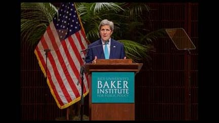 U.S. Secretary John Kerry gives remarks at Rice University's Baker Institute for Public Policy in Houston, Texas to emphasize the importance of engaging religious actors and assessing religious dynamics around the world in order to advance U.S. foreign policy efforts.