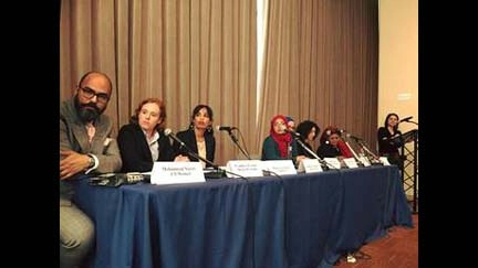 Panelists discuss storytelling as a tool for social change during an event, co-sponsored by USUN and the Organization of Islamic Cooperation's (OIC) Mission to the UN, held at the United Nations in New York during this year's Commission on the Status of Women.