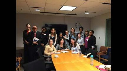 The Office of Religion and Global Affairs meets with Georgetown University students at the U.S. State Department to discuss religion and foreign policy.