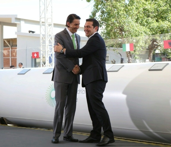 Special Envoy Hochstein and Prime Minister of Greece Alexis Tsipras participate in a ceremony marking the construction of the Trans Adriatic Pipeline (TAP).  The United States welcomes the groundbreaking on the Trans-Adriatic Pipeline (TAP) project.  TAP is the final link in the Southern Corridor Project, which will bring gas from Azerbaijan to Europe.