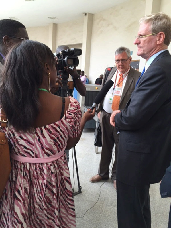 Special Coordinator for Global Criminal Justice Todd Buchwald speaks to the press at the Extraordinary African Chambers after the landmark conviction of former Chadian President Hissène Habré for war crimes and crimes against humanity. (May 2016)