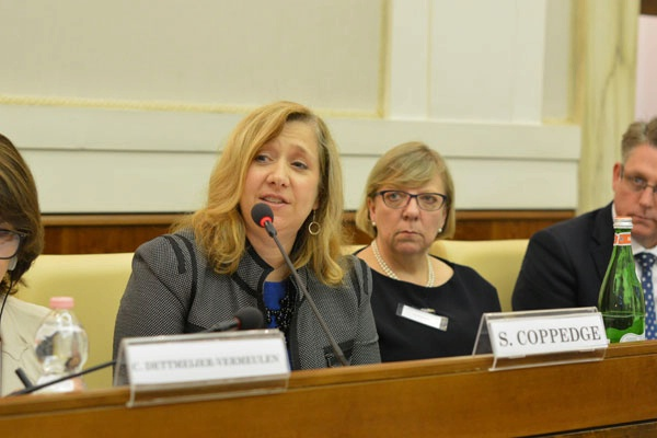 Ambassador-at-Large to Monitor and Combat Trafficking in Persons Susan Coppedge attends the Judges' Summit on Human Trafficking and Organized Crime, hosted by the Vatican's Pontifical Academy of Social Sciences, where she addressed a gathering of judges, prosecutors, and national anti-trafficking coordinators from more than 20 countries. (June 2016)