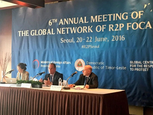 Assistant Secretary for Conflict and Stabilization Operations David Robinson addresses the sixth annual meeting of the Global Network of R2P (Responsibility to Protect) Focal Points. (June 2016)