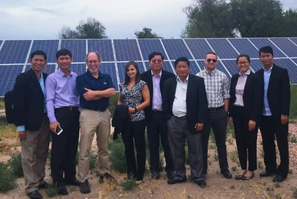 Delegation from Cambodia's Electricity Authority and Electric Utility visit solar farm in Colorado as part of study tour for ENR's Power Sector Program.