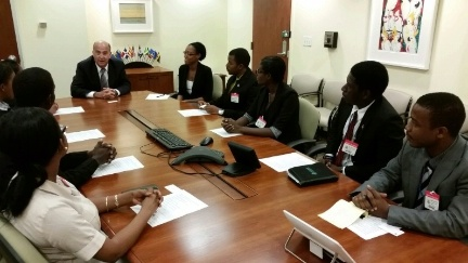 Embassy of Haiti's Future Leaders Fellowship 2016 recipients discuss with Haiti Special Coordinator Merten the concerns of youth in shaping Haiti's cultural, economic and political future.
