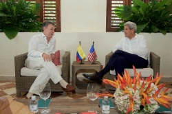 Date: 09/26/2016 Description: John Kerry sits with Colombian President Juan Manuel Santos at the Casa de Marques de Valdehoyos in Cartagena, Colombia as he visits the country to witness a peace ceremony between the government and the Revolutionary Armed Forces of Colombia (FARC) that ends a five-decade conflict. - State Dept Image