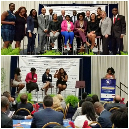 Diaspora panelists discuss collaboration among Haiti's millennials. (top) Haitian diaspora Foreign/Civil Service officers join NAAHP and USAID at Millennials Keynote Luncheon.