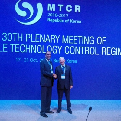 Date: 10/19/2016 Location: Busan, South Korea Description: ISN PDAS Vann Van Diepen welcomes India's Joint Secretary Amandeep Singh Gill to the MTCR Plenary in.  India joined the MTCR in June and is participating in its first MTCR Plenary. - State Dept Image