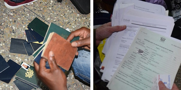 Date: 08/01/2016 Description: Left: Some of the 150 seized passports during the raids. Right: Some of the banking, education, and other identification paperwork seized. - State Dept Image