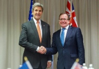 Date: 11/10/2016 Description: Secretary Kerry Shakes Hands With New Zealand Foreign Minister McCully Before Their Meeting in Christchurch - State Dept Image