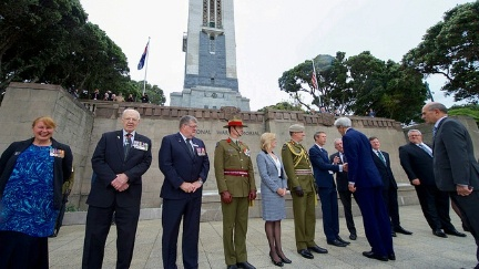 Secretary Kerry shakes hands with a group of dignitaries on November 13, 2016, as he arrives at the Pukeahu National War Memorial Park at Anzac Square in Wellington, New Zealand, to lay a wreath at the Tomb of the Unknown Warrior, present U.S. medals to members of New Zealand's armed forces who served alongside American troops, and to dedicate the site of a new U.S. memorial in the park.