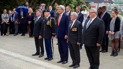 Secretary Kerry, joined by New Zealand Attorney-General Christopher Finlayson, a U.S. Army Colonel, Memorial Advisory Council Chair David Ledson, and Defense Minister Gerry Brownlee, pauses on November 13, 2016, before laying a wreath at the Tomb of the Unknown Warrior at Pukeahu National War Memorial Park at Anzac Square in Wellington, New Zealand.