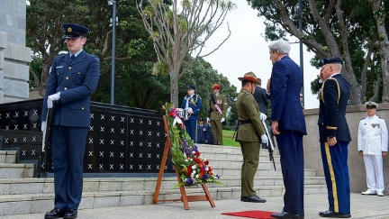Secretary Kerry, joined by a U.S. Army Colonel, pauses after laying a wreath at the Tomb of the Unknown Warrior at Pukeahu National War Memorial Park at Anzac Square in Wellington, New Zealand, on November 13, 2016.