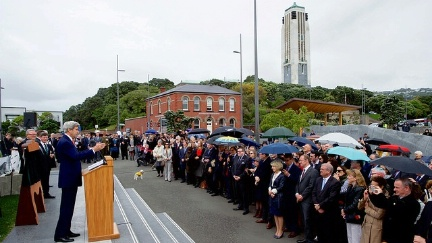 Secretary Kerry, joined by U.S. Ambassador to New Zealand Mark Gilbert, and his wife, Nancy, delivers remarks at a dedication ceremony for the site of a new American memorial at the Pukeahu National War Memorial Park at Anzac Square in Wellington, New Zealand, on November 13, 2016.