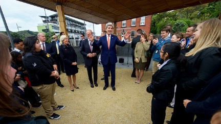 Secretary Kerry thanks members of the U.S. Embassy Wellington staff at the Pukeahu National War Memorial Park at Anzac Square in Wellington, New Zealand, after they helped arrange for him to lay a wreath at the Tomb of the Unknown Warrior, present U.S. medals to members of New Zealand's armed forces who served alongside American troops, and dedicate the site of a new U.S. memorial in the park.