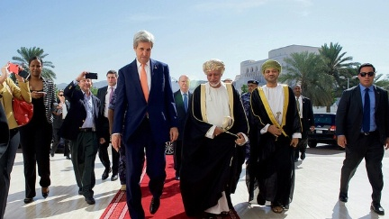 Omani Foreign Minister Yusuf bin Alawi Escorts Secretary Kerry as he Arrives at the Ministry of Foreign Affairs in Muscat