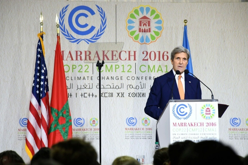 Secretary of State John Kerry delivers remarks at the 22nd UN Framework Convention on Climate Change Conference of Parties (COP22) in Marrakech, Morocco, on November 16, 2016.