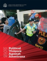 Date: 12/01/2016 Description: Cover of Diplomatic Security Service's publication, ''2015 Political Violence Against Americans'', showing protesters outside the U.S. Embassy in Manila struggling with Philippines police officers and throwing red paint onto the U.S. Great Seal at the embassy's entrance. - State Dept Image
