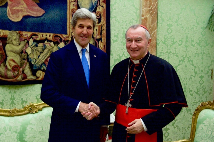 Secretary Kerry shakes hands with Vatican Secretary of State Cardinal Pietro Parolin on December 2, 2016, before a bilateral meeting on Mediterranean issues following an Italian-hosted multinational conference about Mediterranean issues at the Vatican in Rome, Italy.