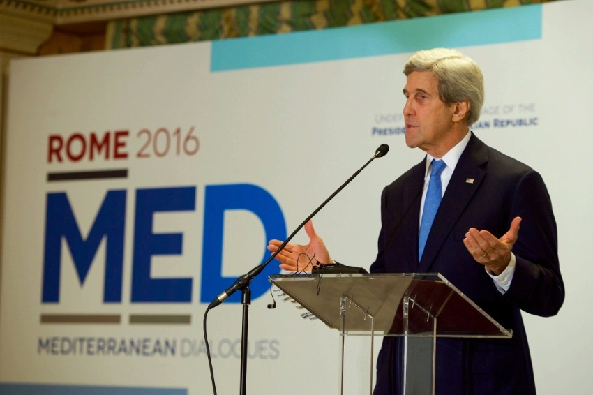 Secretary Kerry addresses reporters on Mediterranean issues on December 2, 2016, following an Italian-hosted multinational conference about Mediterranean issues at the Parco dei Principe Hotel in Rome, Italy.
